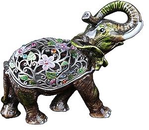 znewlook Pewter Antiqued Flowered Elephant Jewelry Trinket Box Retro Thailand Elephant Gifts