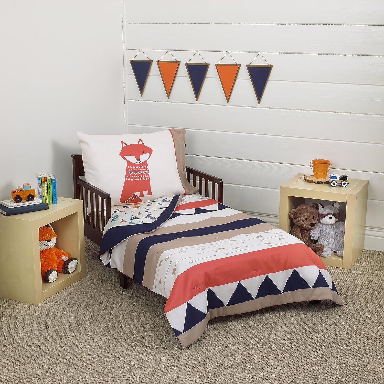 Amazon Com Carter S Aztec 4 Piece Toddler Bedding Set Navy Cream Orange Beige Baby