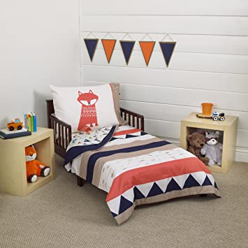 carters aztec 4 piece toddler bedding set navy cream orange beige - Toddler Bed Sets