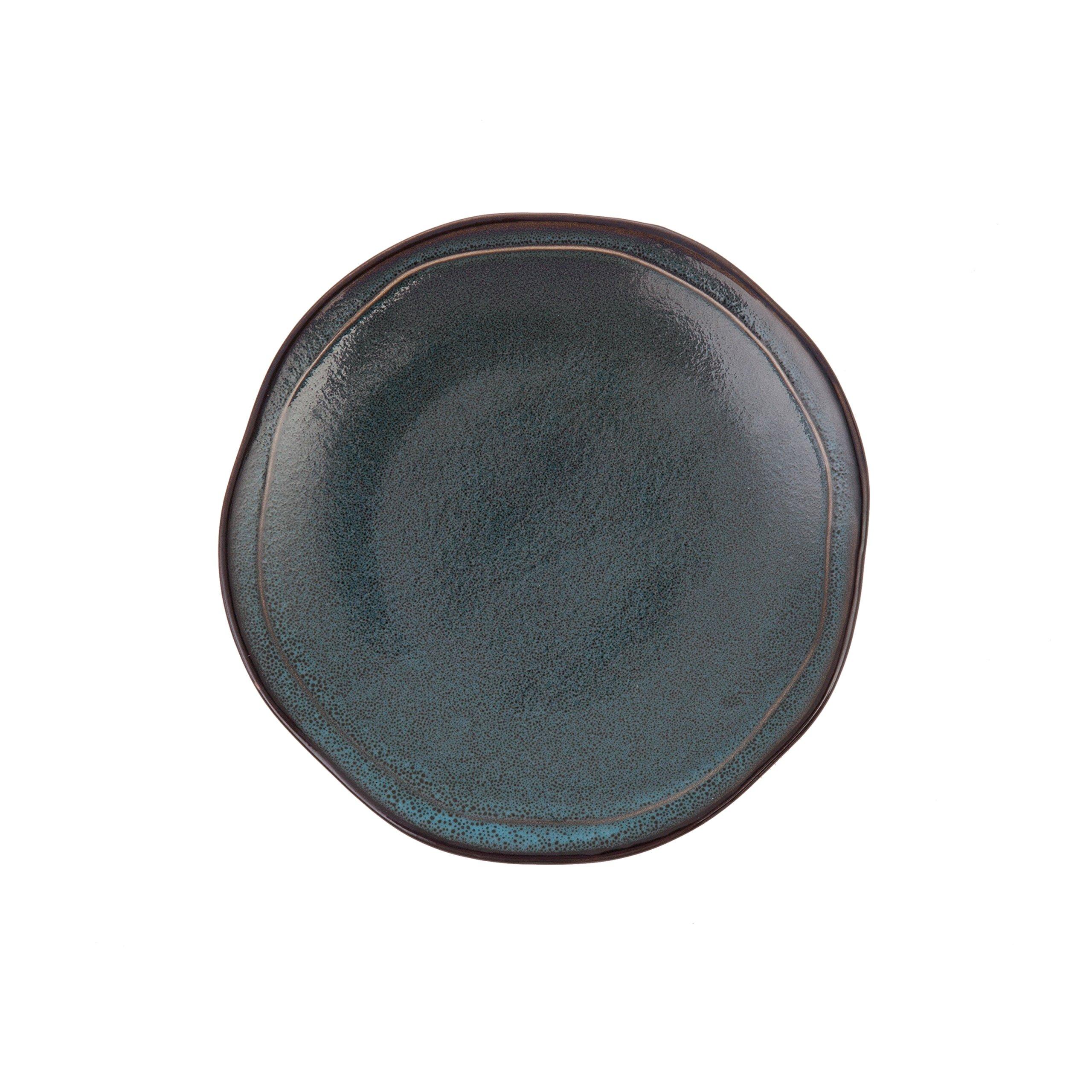 D&V 6 Piece Stōn Porcelain Dinnerware Salad/Dessert Plate Set, 8'', Twilight