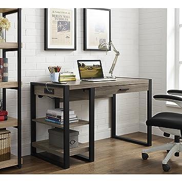 we furniture 48quot industrial wood storage computer desk driftwood amazoncom furniture 62quot industrial wood