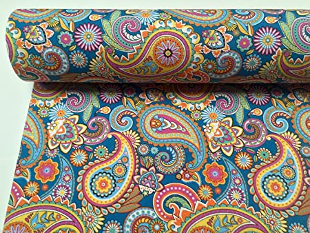 Homebuy Blue Paisley Upholstery Curtain Cotton Fabric Material