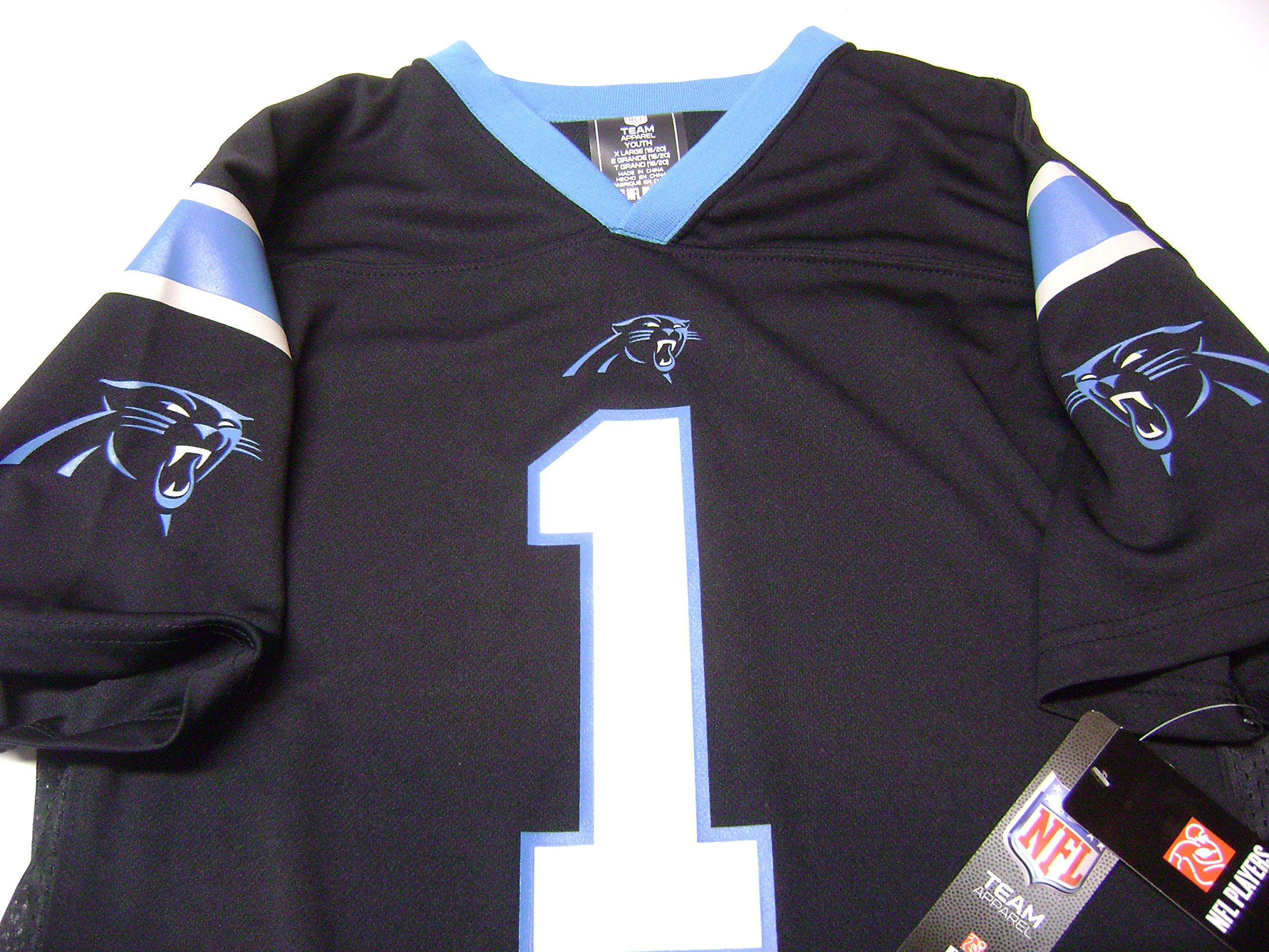 Cam Newton Carolina Panthers Youth Black Jersey Small 8 e2e9b9752