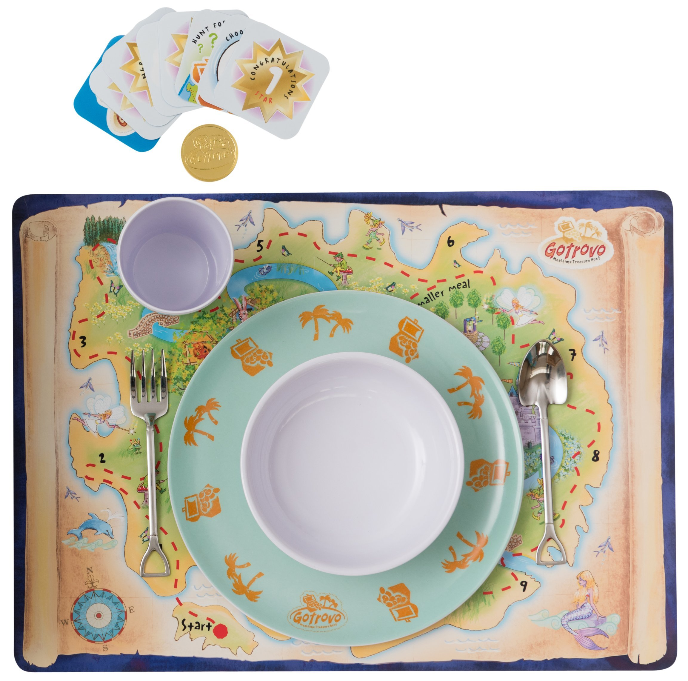 Mealtime Adventures Educational Dinner Game/Table Game for Kids. Includes Gotrovo Game Board, Reward Game Cards, Fun Novelty Cutlery and Dinner Set all in one