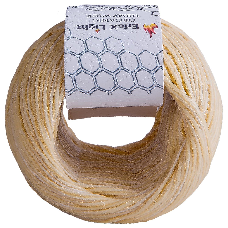 Standard Size 100/% Organic Hemp Wick Well Coated With Natural BeesWax EricX Light Beeswax Hemp Wick 1.0mm 200 ft Spool