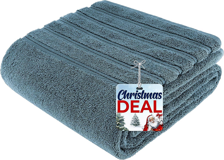 American Soft Linen 100% Turkish Genuine Cotton Large, Jumbo Bath Towel 35x70 Premium & Luxury Towels for Bathroom, Maximum Softness & Absorbent Bath Sheet [Worth $34.95] - Colonial Blue