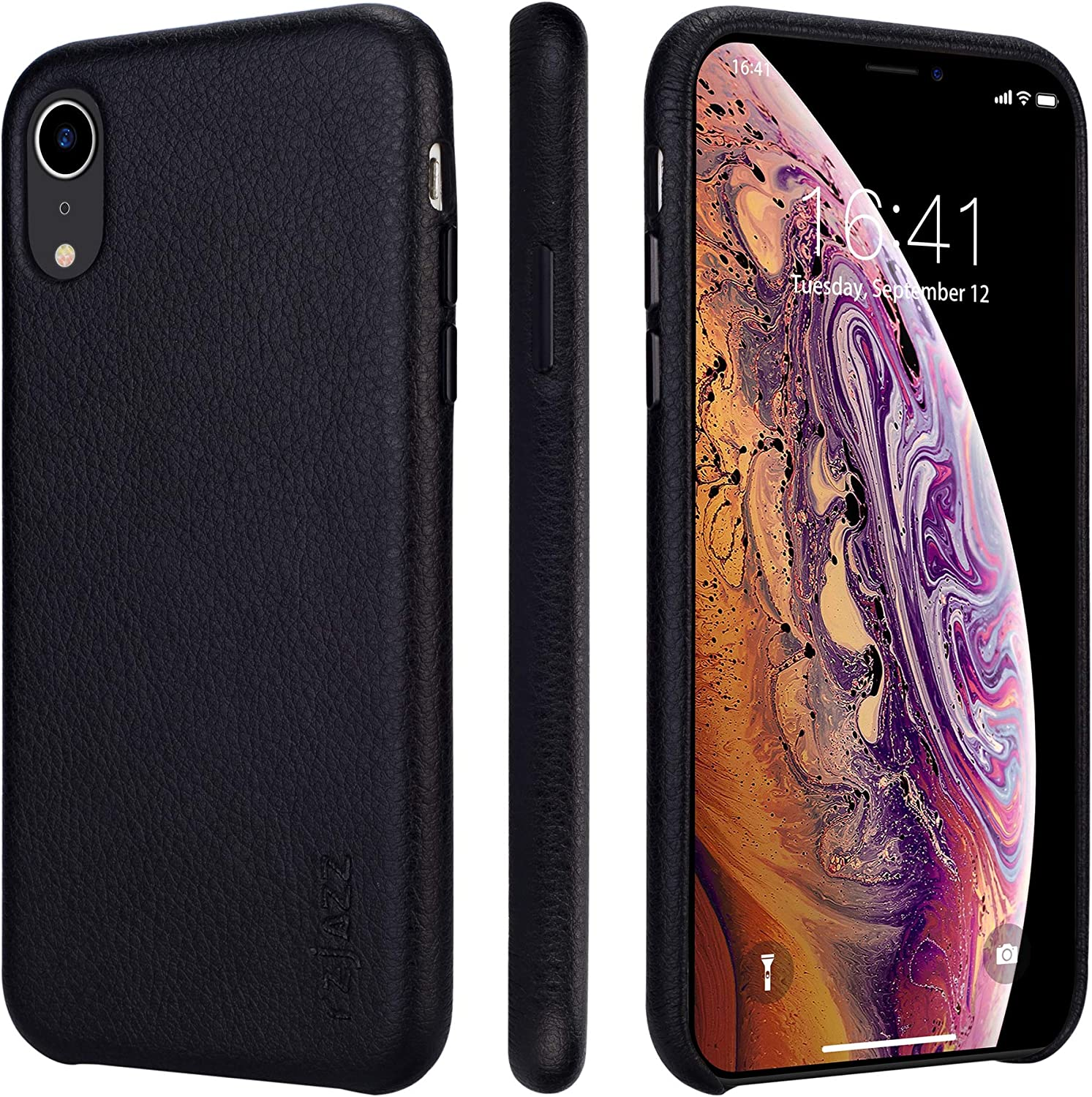 rejazz iPhone xr Case Anti-Scratch iPhone xr Cover Genuine Leather Apple iPhone Cases for iPhone xr (6.1 Inch)(Black)