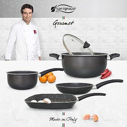 San Ignacio Set Casual Batería de Cocina Gourmet, Aluminio prensado, Gris Oscuro, Cazo de Ø16 Ø20 sartén Grill de 28x28 Olla de Ø24 cms con Tapa ...