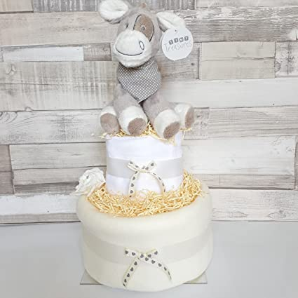 Unisex Neutral – tarta de pañales New Baby Hamper Baby Shower regalo 2 niveles (entrega