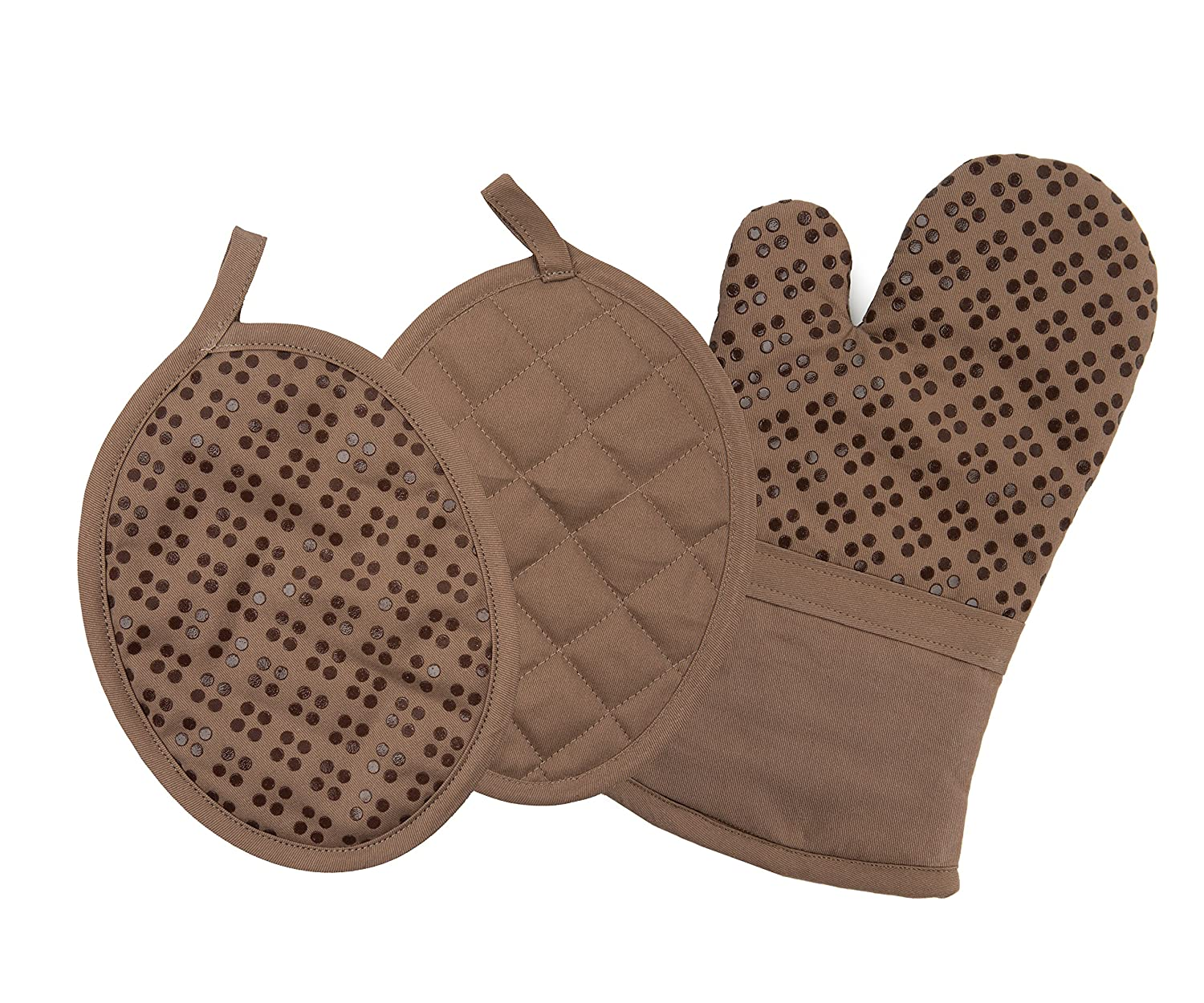 Sticky Toffee Printed Silicone Oven Mitt and Pot Holders, 100% Cotton, 3 Piece Set, Brown