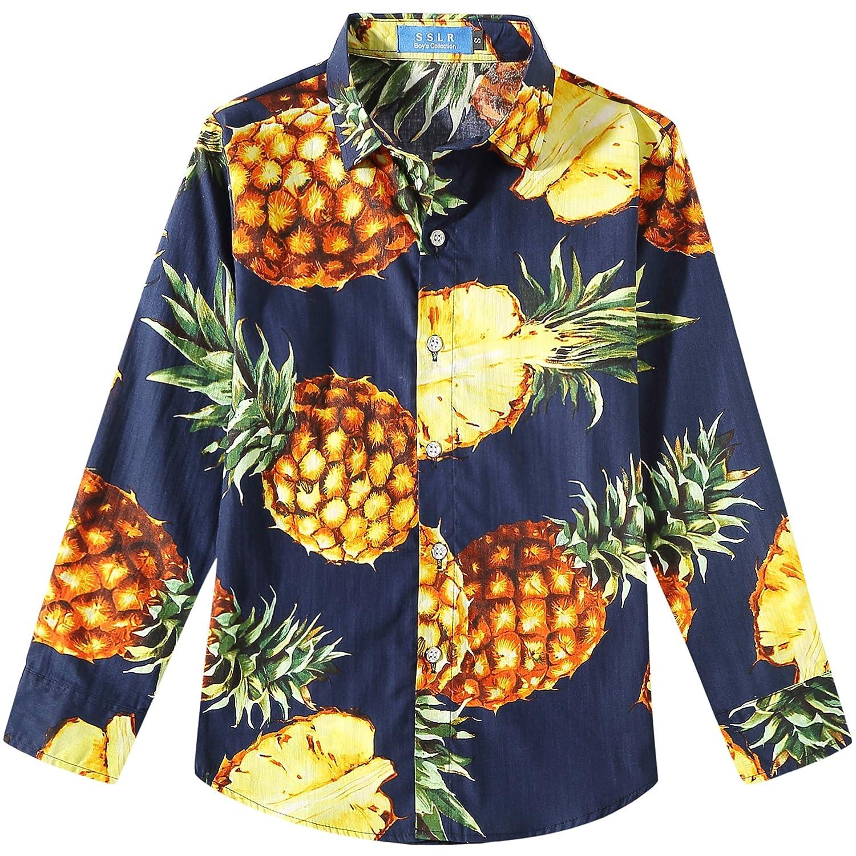 SSLR Jungen Hemd Langarm Hawaiihemd mit Ananas Baumwolle Mehrfarbig Freizeit Shirt