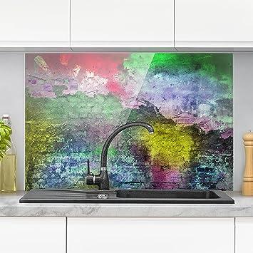 Bilderwelten Spritzschutz Glas - Bunte besprühte alte Wand aus ...