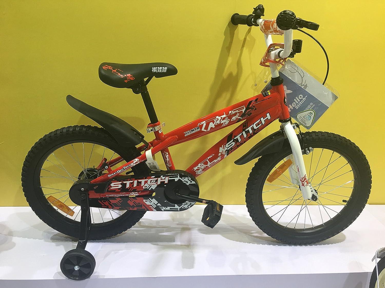 Lesute(ラシュット) カモシカさん 子供用自転車 泥除け付き 補助輪付き 滑り止めハンドル付き 簡単に安装 幅が広いタイヤ 安全 丈夫 18インチ 適応目安:115~150㎝  レッド B01BTUF4MS