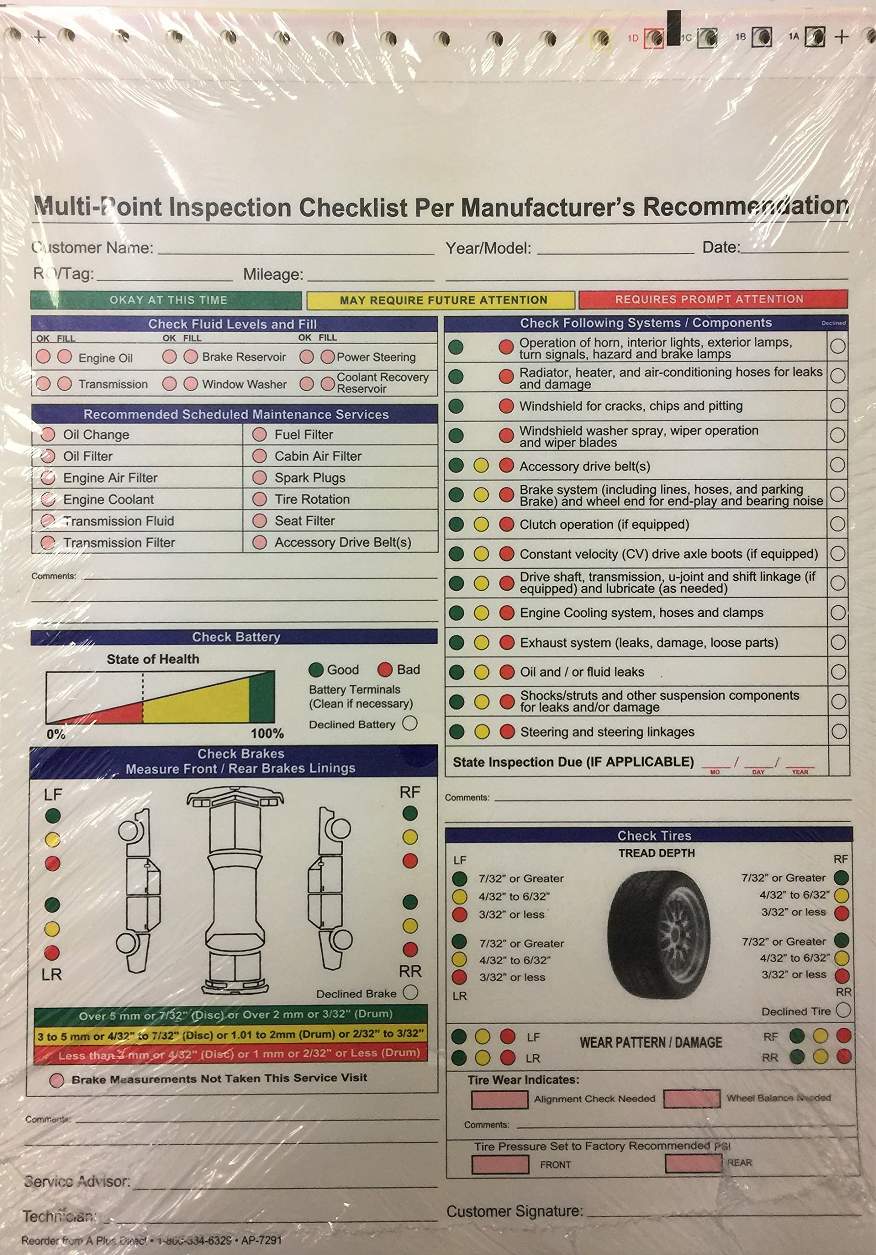 Multi-Point Inspection Forms - (250/pack) 7291 (W15) by A Plus Dealer Supplies (W15) (Image #4)