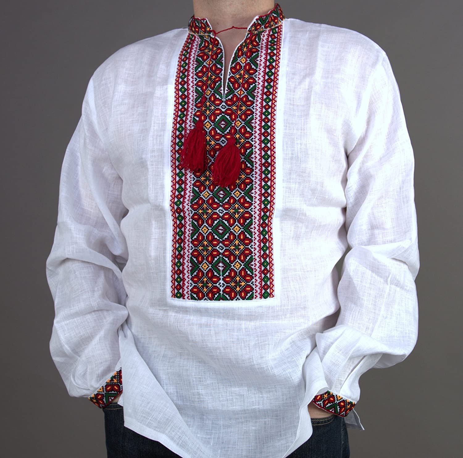 White blouse with green embroidery vyshyvanka Free shipping