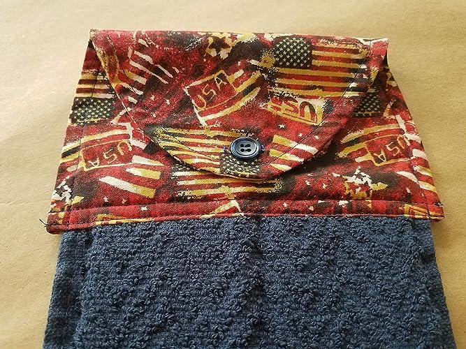 Amazon Com American Flag Hanging Kitchen Towel Americana Button