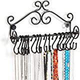 Wall Mounted Black Metal Scrollwork Design Jewelry Storage Organizer Rack w/ 20 Hanging S-Hooks - MyGift