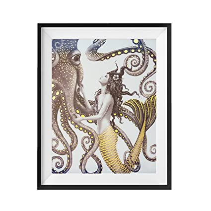 Amazon.com: Mermaid and Octopus - Gold Foil Wall Art Decor Posters ...