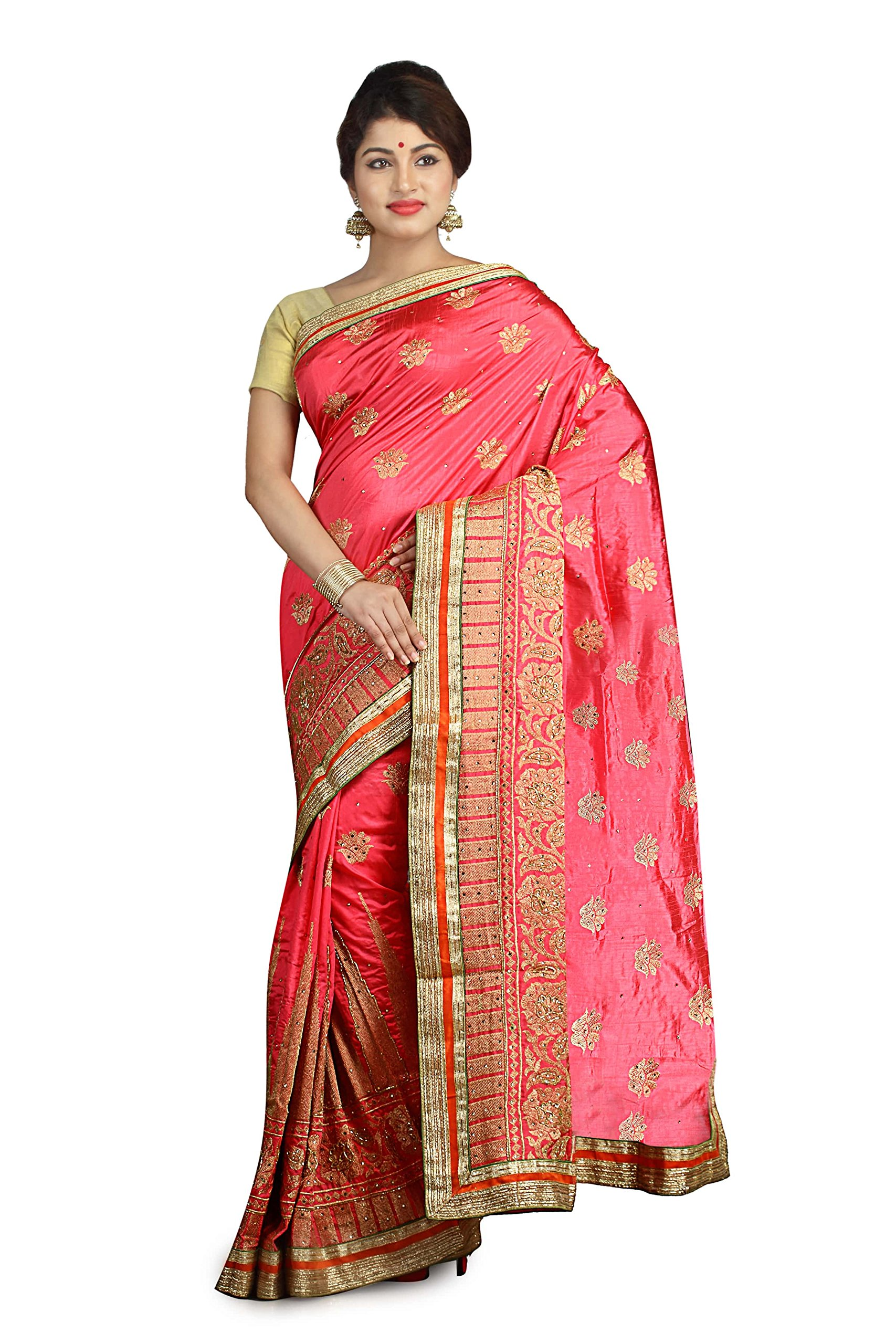 Indian Ethnic Raw Silk Pink Fancy Saree