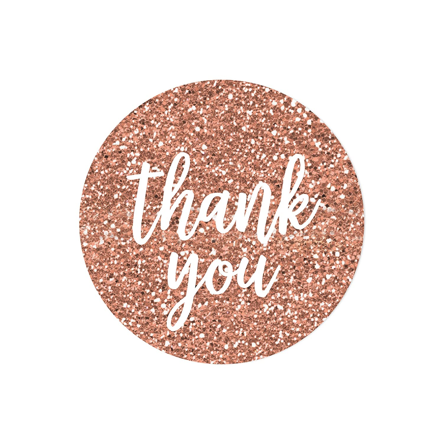 Andaz press round 2 inch circle label stickers faux rose gold glitter script style white thank you