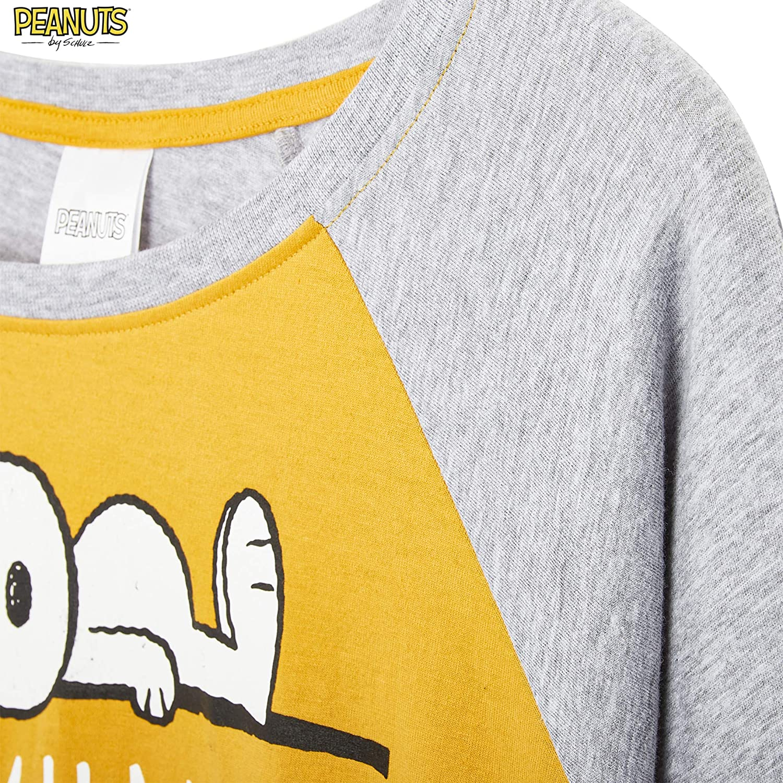 Idee Regalo Mamma Compleanno Donne Ragazze Peanuts Snoopy Pigiama Donna Set Pigiami Cotone Lungo 2 Pezzi con Maglietta E Pantaloni Leggins Neri Tutta Leggera Originale Estivo