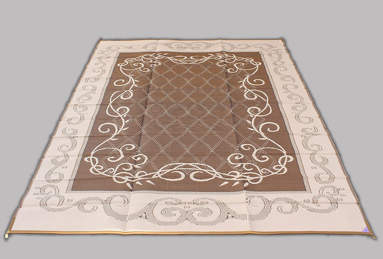 Amazon.com : Reversible Mat Brown U0026 Beige Patio Outdoor Camping Garden Mat  (9 X 12) : Rv Storage : Garden U0026 Outdoor