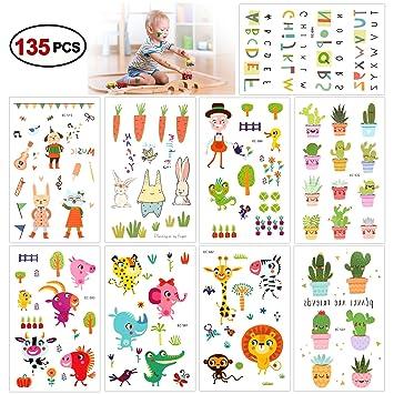 Konsait Tatuajes Temporales para Niños Niñas, 135 Flor ...