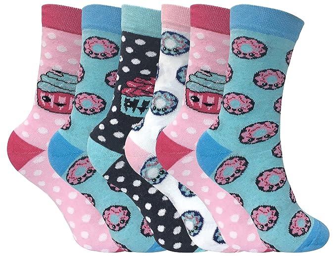 Sock Snob 6 Pares Niños Niño Niña Colores Fantasia Respirable Divertidos Cortos Algodón Calcetines con Diseños para Verano: Amazon.es: Ropa y accesorios