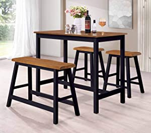 Kings Brand Furniture – 4 Piece Counter Height Pub Dining Set. Table, Bench & 2 Stools