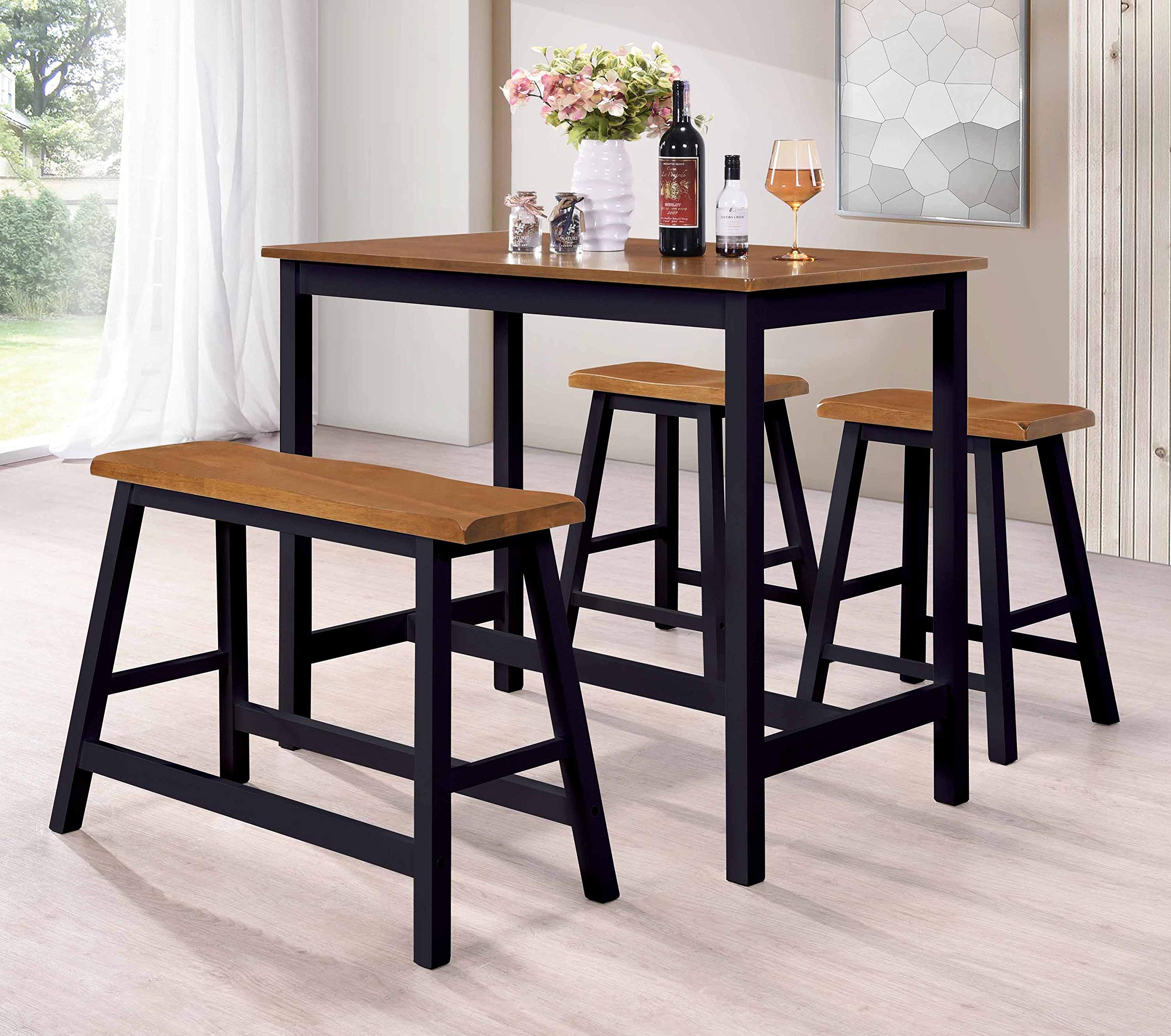 Kings Brand Furniture - Slocum 4 Piece Counter Height Pub Dining Set. Table, Bench & 2 Stools