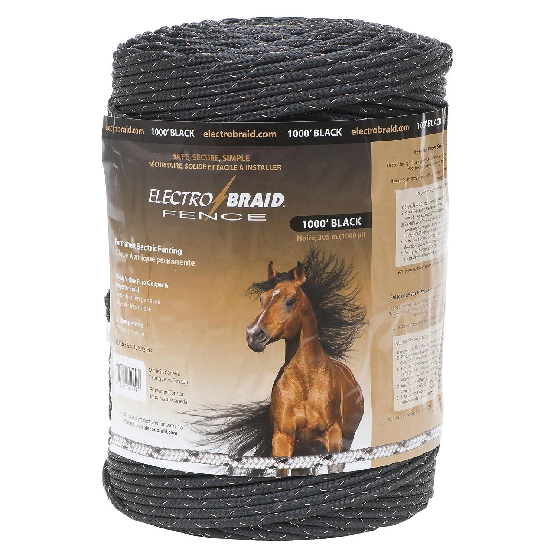 Black ElectroBraid PBRC1000B2-EB Horse Fence Conductor Reel, 1000-Feet, Black