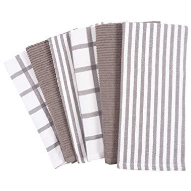 Mixed Flat & Terry Kitchen Towels | Two Sets of 3 18 x 28 Inches | 4 Flat Weave Towels for Cooking and Drying Dishes and 2 Terry Towels, for House Cleaning and Tackling Messes and Spills (Dark Gray)