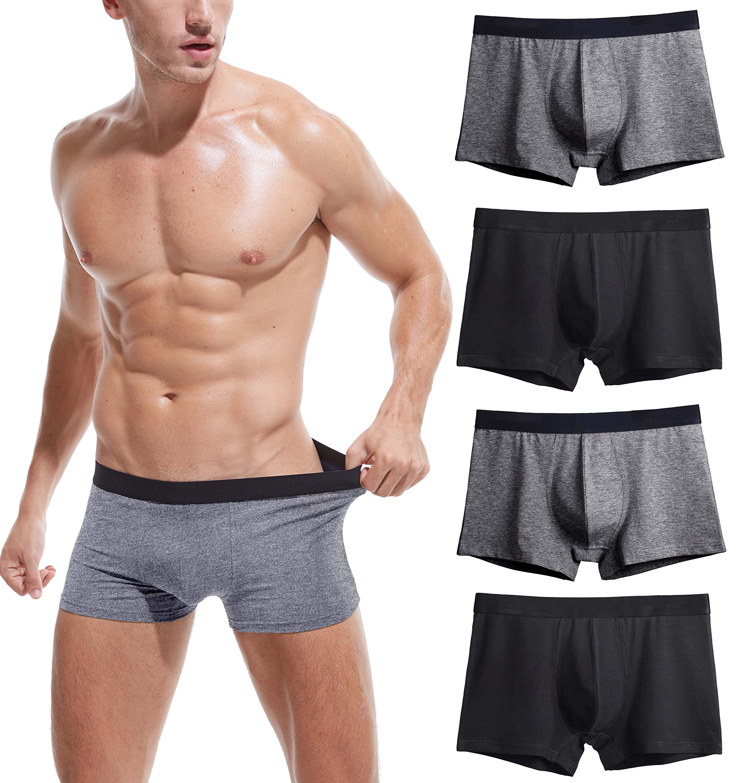 Robesbon Men's No Ride-up Boxer Briefs Stretch Comfortable Breathable Cotton Underwear 4 Pack Large by Robesbon