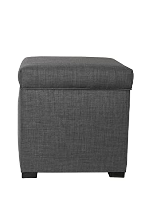 MJL Furniture Designs Tami Collection Fabric Upholstered Lift Top Cube Storage Ottoman Ottoman Foot Rest, HJM100 Series, Dark Gray