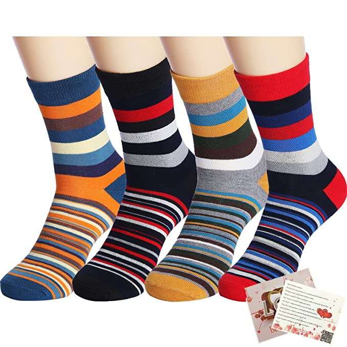 Vintage Socks | 1920s, 1930s, 1940s, 1950s, 1960s History 4 Pack Colorful Stripe Cotton Ankle CasualCrew Socks Vintage Style Sport Sock  AT vintagedancer.com