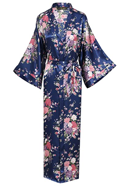 ArtiDeco Kimono Floral Largo Bata Novia Kimono de Seda 1920s Ropa de Dormir Despedida de Soletera