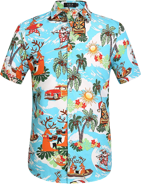 SSLR Men's Santa Claus Party Tropical Ugly Hawaiian Christmas Shirts