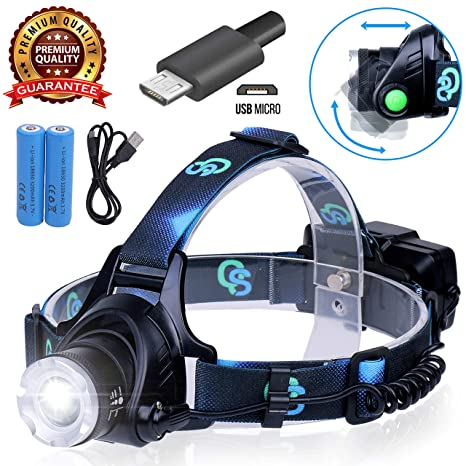 Rechargeable Headlamp, Hard Hat Light – Adults LED Headlamp Flashlight, Perfect Headlamps for Camping