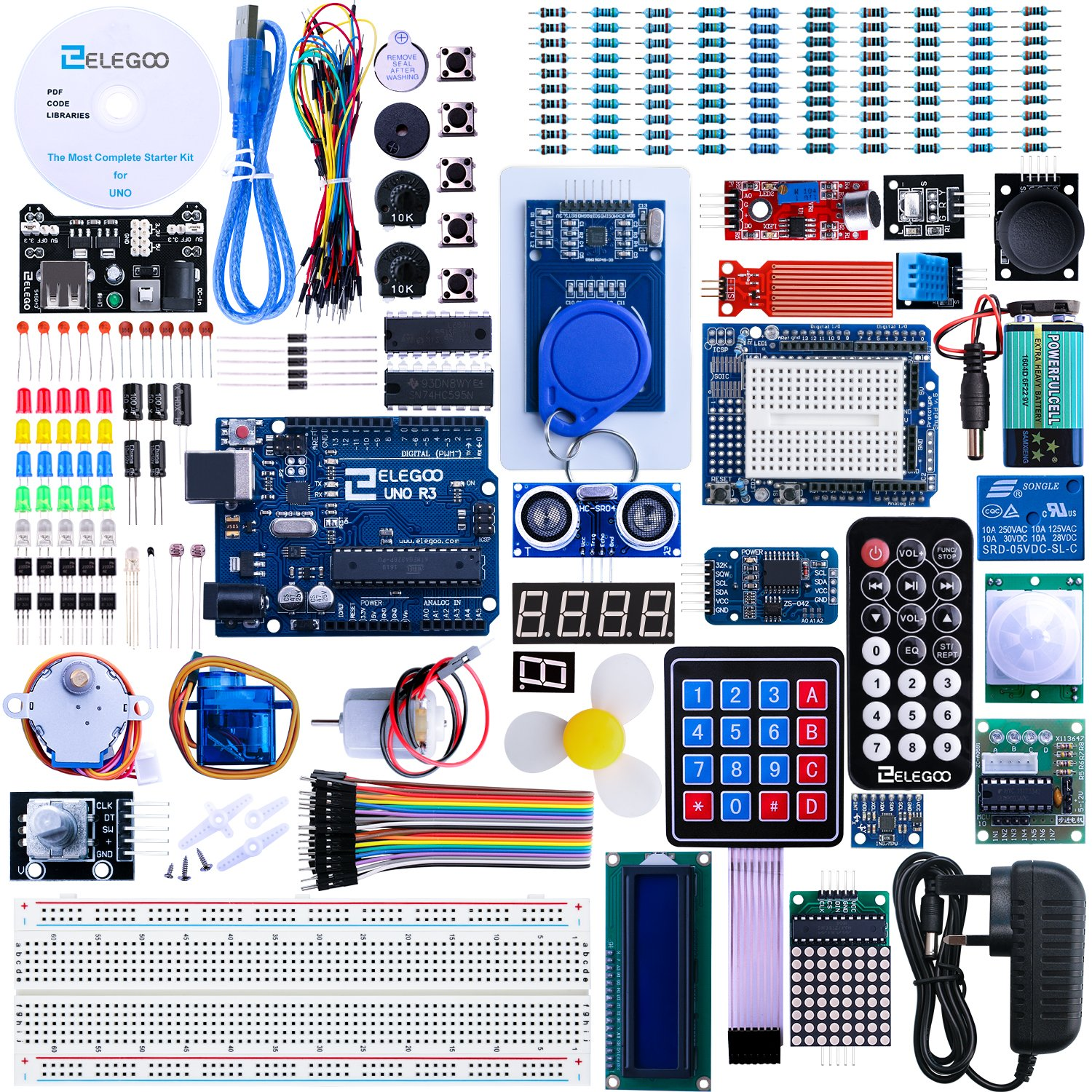 Elegoo Uno R3 Project The Most Complete Ultimate Starter Kit W Electromagnetic Relay Tutorial Controller Board Lcd1602 Servo Stepper Motor For Arduino