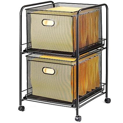 Halter Steel Mesh 2 Tier Rolling File Cart Bundle With 40 Hanging File  Folders   Black