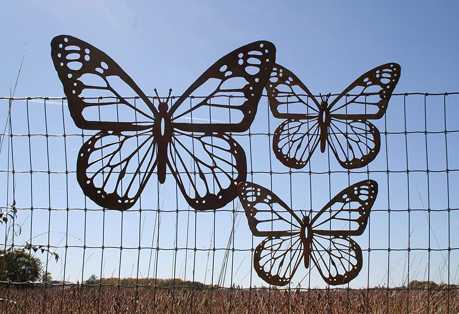 1 Giant and 2 Medium Rustic Butterfly Set