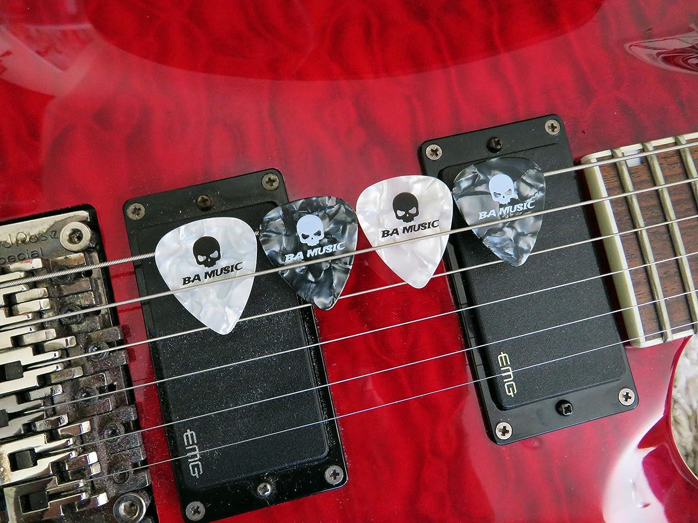 BA Music Premium Celluloid Skull Guitar Picks 20 Pack Tin 0.46mm Thin 10 black /& 10 white Solid