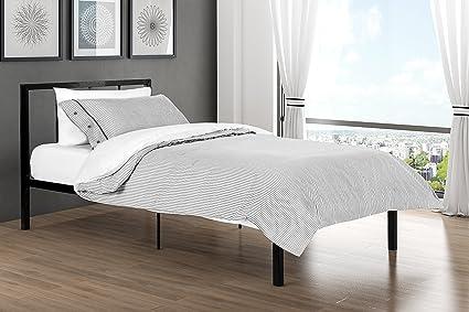 Finlay Twin Metal Bed Frame In Rich Black, Modern Scandinavian Minimalist  Design, Solid Platform