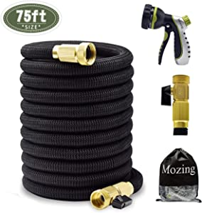Mozing 75ft Expandable Garden Hose - Heavy Duty Flexible Expanding Hose with 3/4 Solid brass fittings & Premium 8 Functions Hose Nozzle