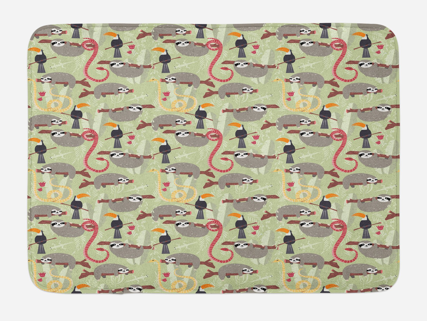 Lunarable Sloth Bath Mat, Amazon Rainforest Inhabitants Toucans Whipsnakes and Sloths Animals of South America, Plush Bathroom Decor Mat with Non Slip Backing, 29.5 W X 17.5 W Inches, Multicolor