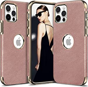 LOHASIC Case for iPhone 12 Pro Max Women, Girl Phone Cover PU Leather Elegant Luxury Vintage Designer Slim Shockproof Protective Soft Grip Non-Slip Anti-Scratch TPU Bumper 12 ProMax 6.7 Inch Rose Gold