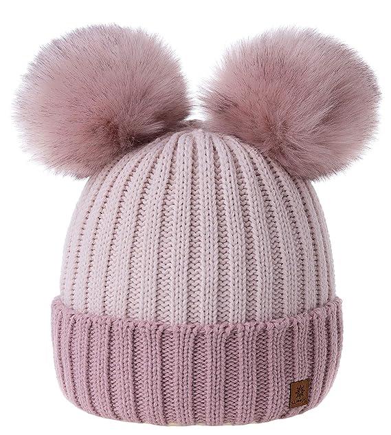 1347a271573 MFAZ Morefaz Ltd Girls Winter Beanie Hat Knitted Hats Kids Girl with Large  Double Pom Pom Ski (Rose-Pink Powder-Pink)  Amazon.co.uk  Clothing