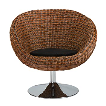 Euro Style Oliana Rattan Swivel Chair With Microfiber Cushion And Chrome  Base, Triple Brown
