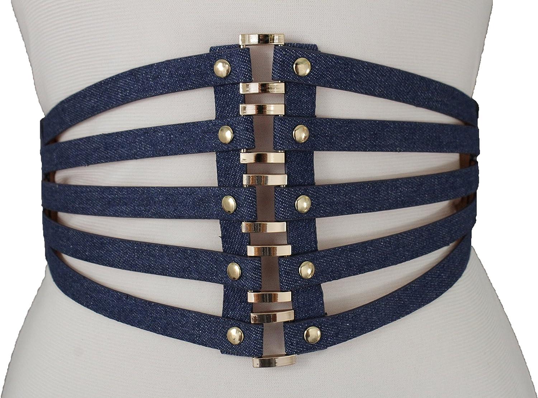 TFJ Women Fashion Belt High Waist Gold Metal Rings Stripes Corset S M Denim Blue