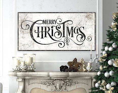Christmas Wall Hanging Large Christmas Mantel Decor Christmas Sign with Buffalo Plaid Theme Black and White Christmas Decorations